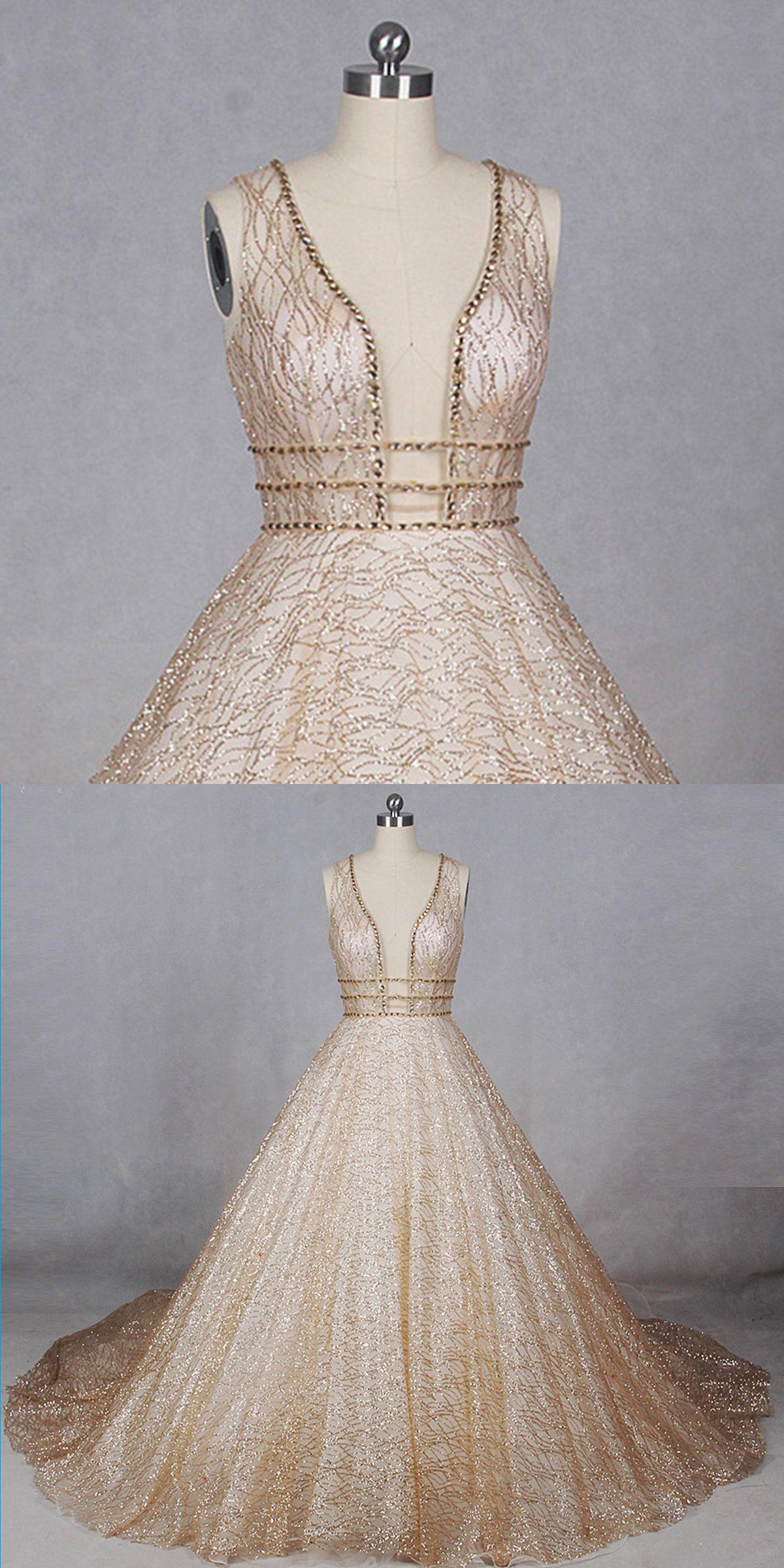 Gold tulle v neck long train sequins evening dress formal wedding