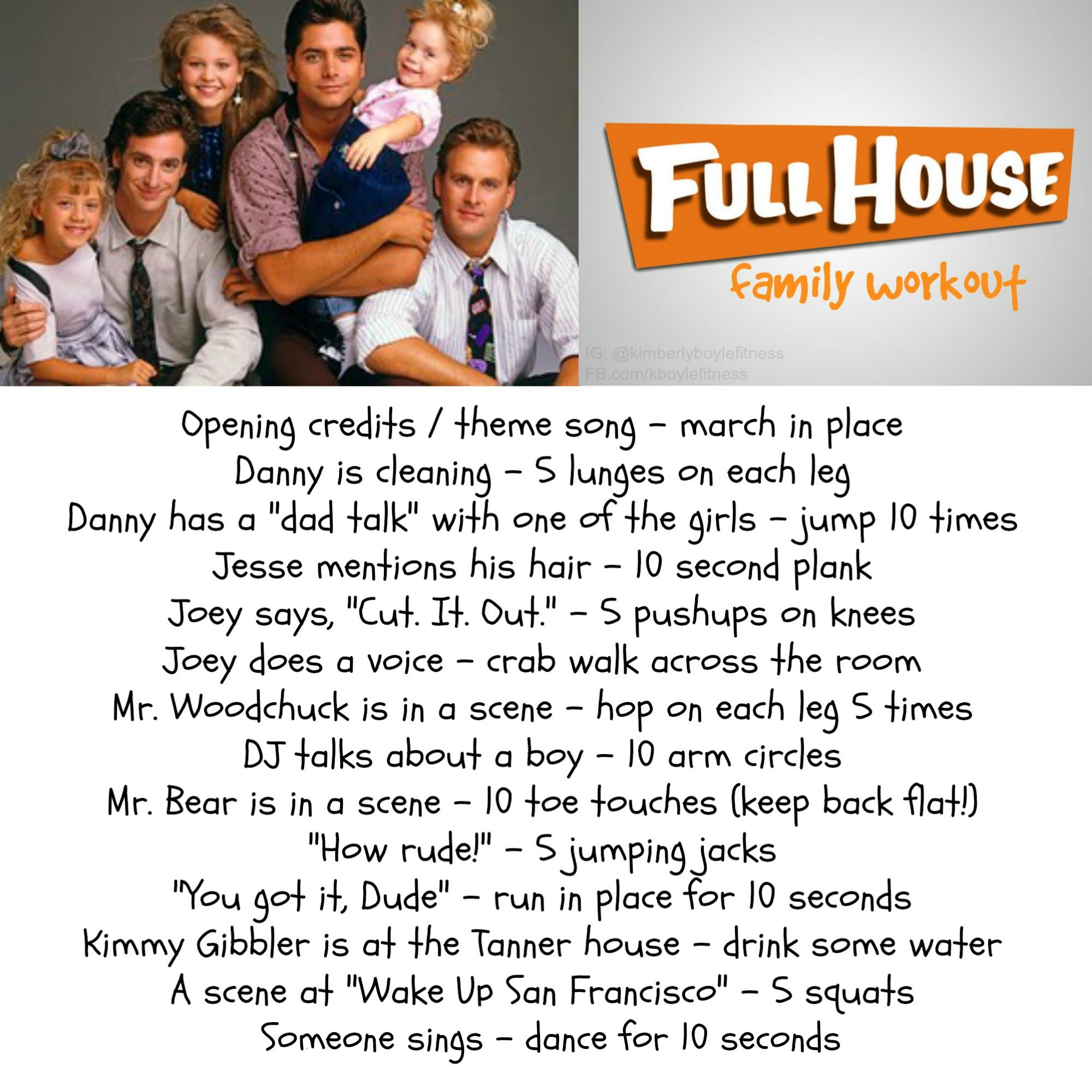Full House workout.  TV workout for the whole family.  exercises for kids, kid exercises, kid-friendly fitness, healthy kids, healthy family -   24 fitness challenge for kids