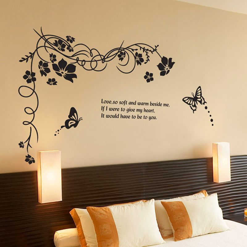 Large trees vine butterfly tv sofa background wall stickers living room decoration 817 flowers home decals