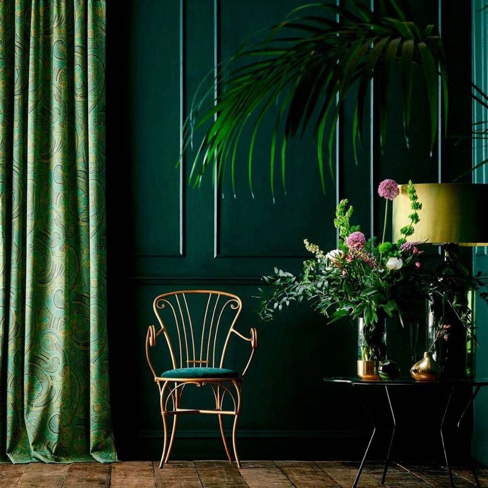 Pin By Bella Triolo On Frog Lock My Work Art Direction Styling And Colouration Dark Green Walls Curtains Living Room Living Room Green