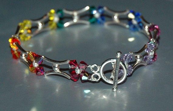 Swarovski Silver Rainbow Bracelet by KwaiJewellery on Etsy, $60.00