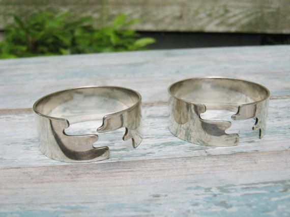 Silver plate Napkin Rings With Geometric Design by LeChatCrochet