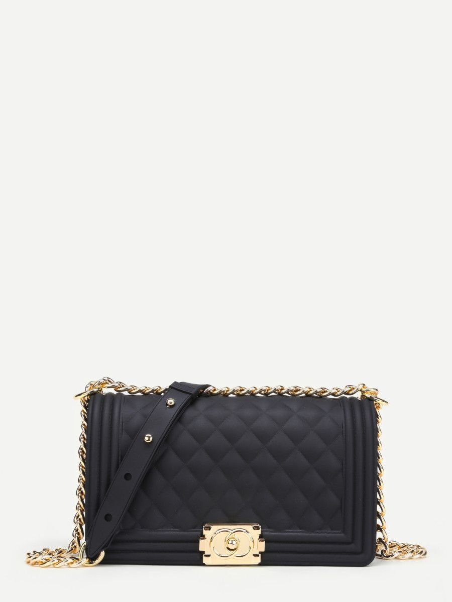 81fac854fabd Metal Lock Quilted Crossbody Chain Bag -SheIn(Sheinside) | Wantable ...