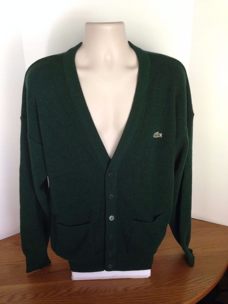 dc2fc3db9 Vintage Chemise Lacoste Green Cardigan Men's Sweater Made in France Size 5  Large #Lacoste #Cardigan