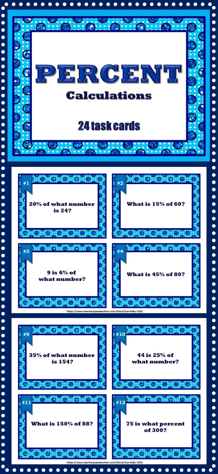 percent task cards grades 5 8 pinterest task cards math and