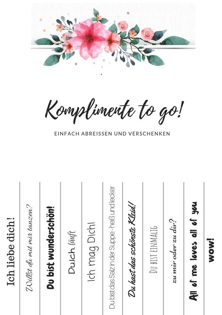Komplimente to go! Freebies zum Downloaden #brautblume