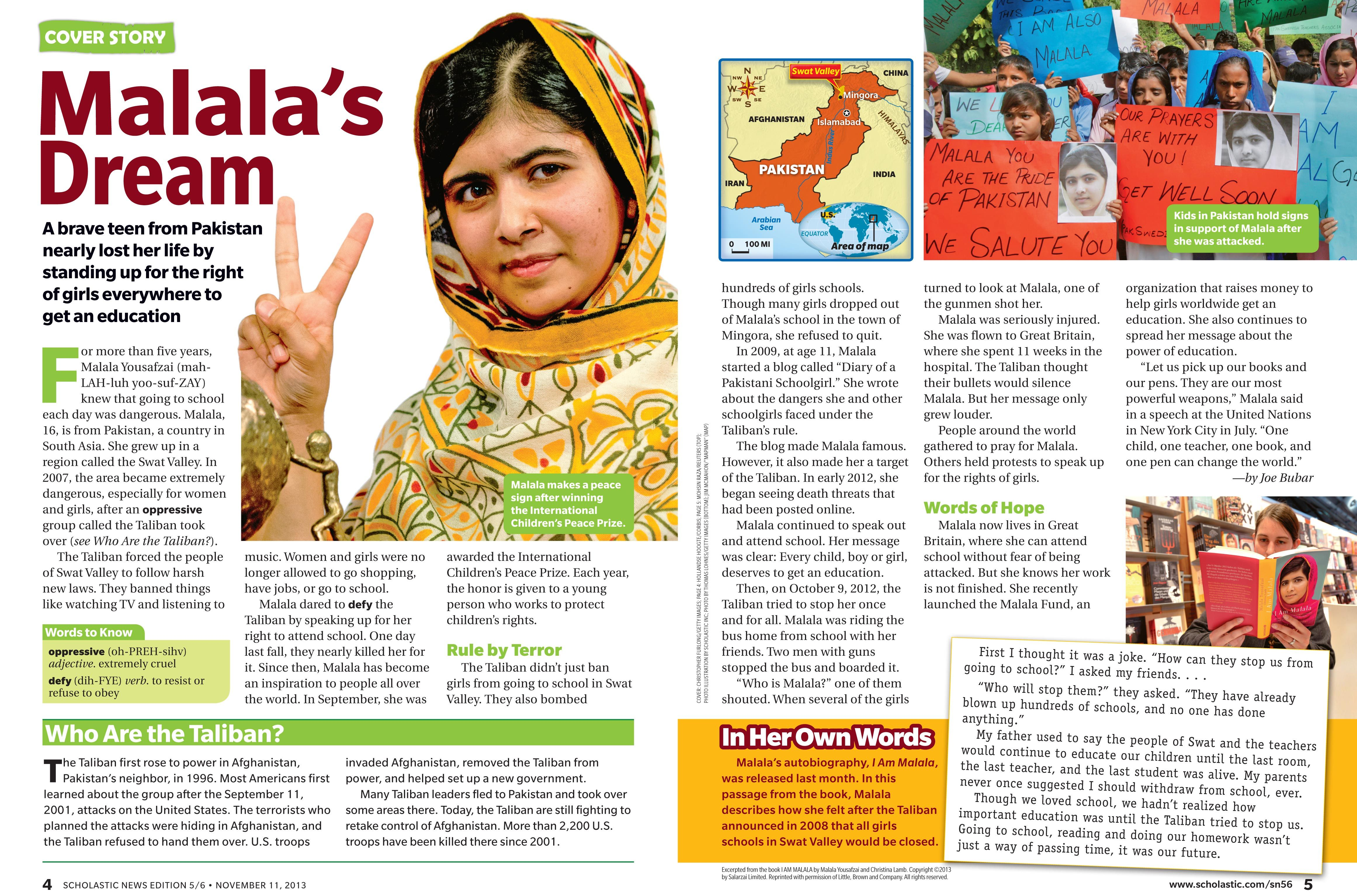 Congrats To Scholastic News Edition 5 6 On Having Malala S Dream From The March 11