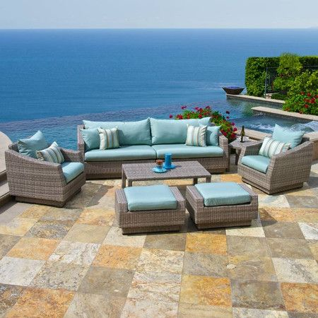 Chic 8-Piece Catalina Indoor/Outdoor Seating Group Set in Light Blue -  this is such a classy looking set!