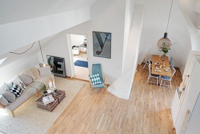 kleine wohnung skandinavischer stil holzboden helle farben, Innedesign