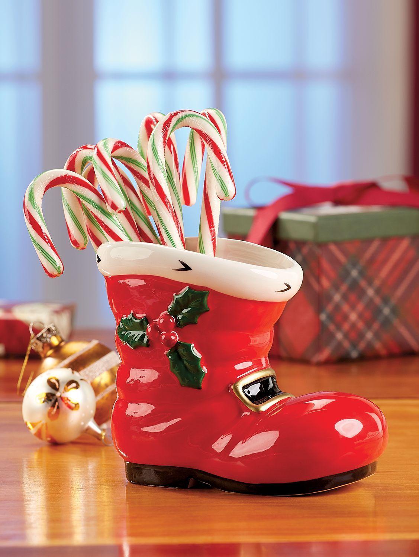Ceramic Santa Boot Vase Christmas Tableware Santa Boots Ceramics