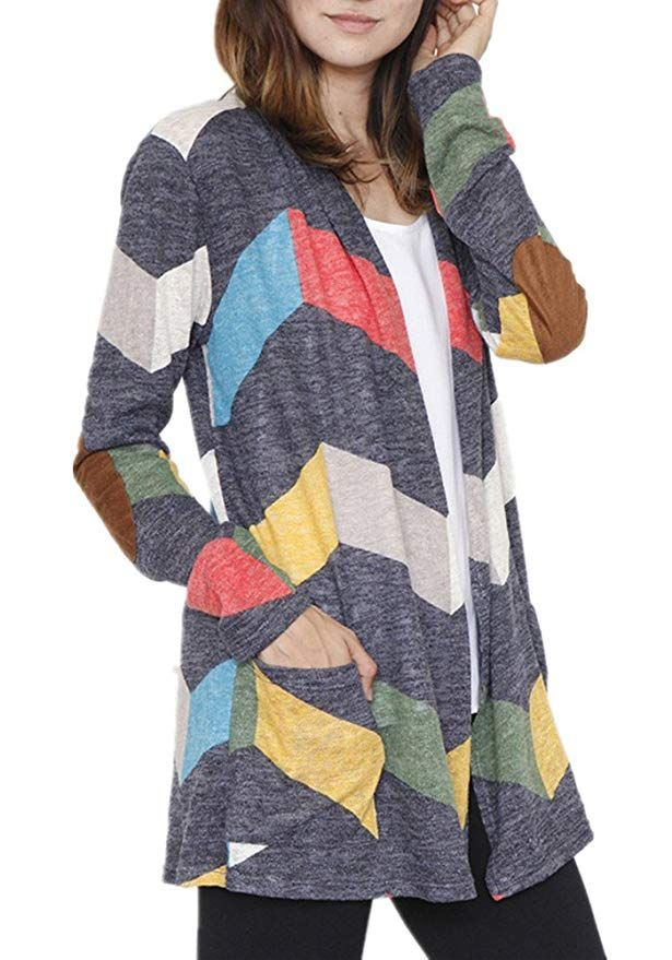 9dd19b2b0a Poulax Women s Geometric Print Open Front Leightweight Knit Cardigan with  Pockets
