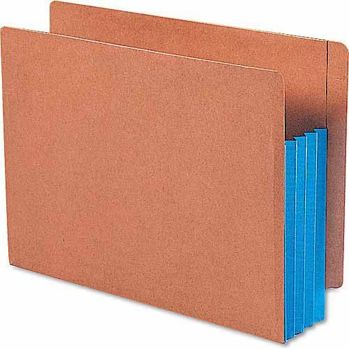 "3 1/2"" Exp File Pockets, Straight Tab, Letter, Blue, 10/box"
