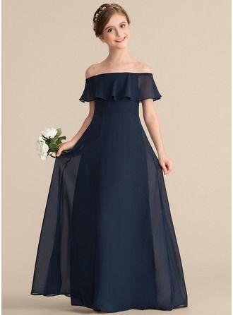JJsHouse A-Line/Princess Off-the-Shoulder Floor-Length Chiffon Junior Bridesmaid Dress With Cascadin