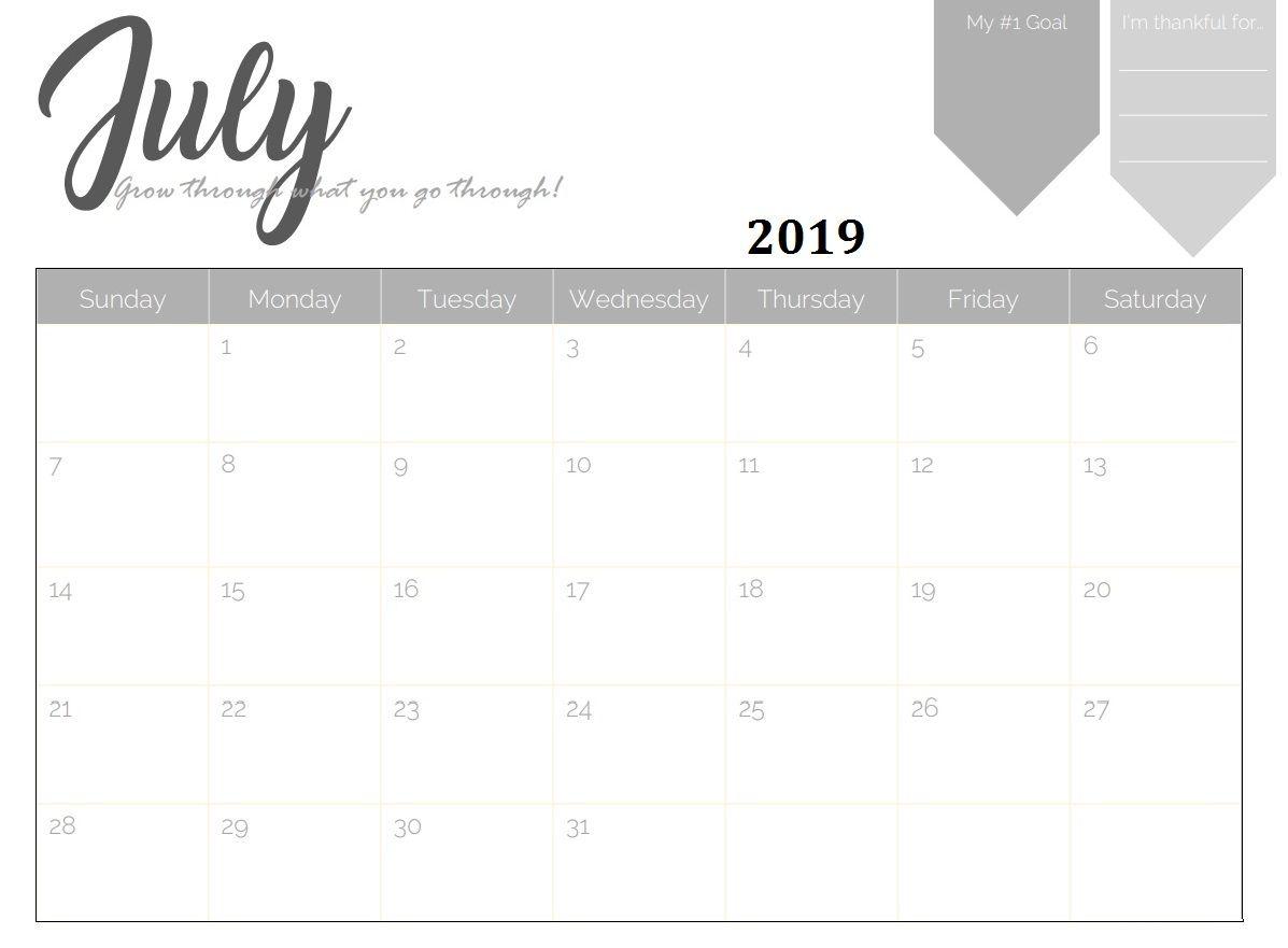 Printable July 2019 Desk Calendar Calendar 2018 Pinterest