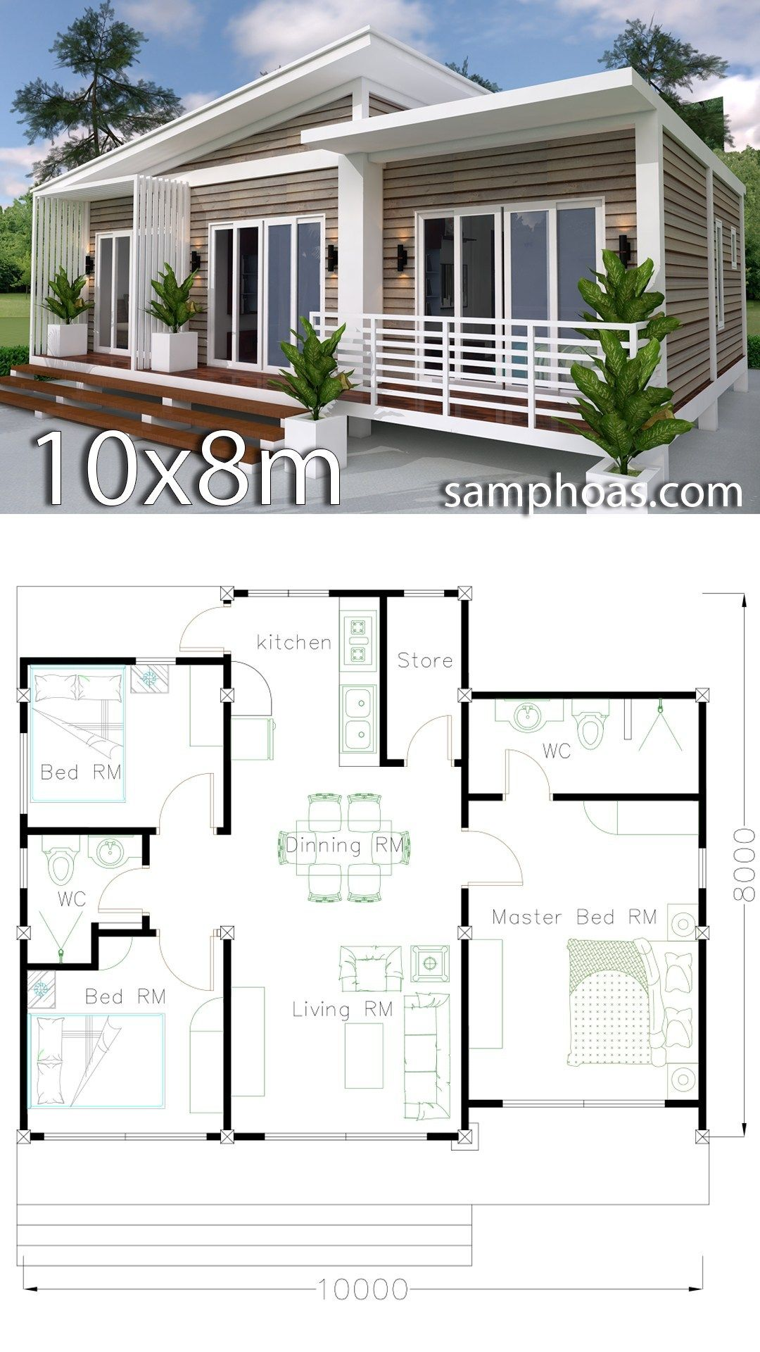 Home Design Plan 10x8m 3 Bedrooms With Interior Design Samphoas Plansearch Architecture House Home Design Plan Home Design Plans