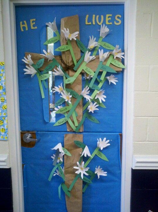 Easter Door Hand Print Lilies With Children S Names On
