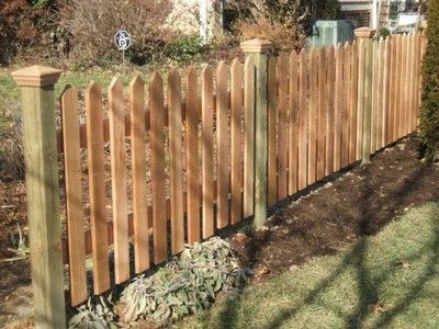 3 36 High 1x4 Cedar Picket Fence With Pressure Treated Pine Posts With Cedar Pyramid Post Caps Cool Deck Fence Picket Fence