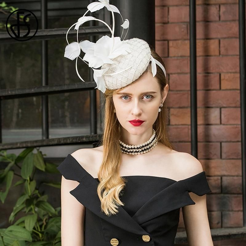 1dd9ba2d7 2019 Ladies Fascinators For Wedding Hats White Women Elegant Church ...