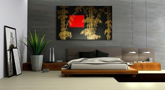 Oversized Painting Original Bamboo Art Asian Style by NathalieVan, $645.00