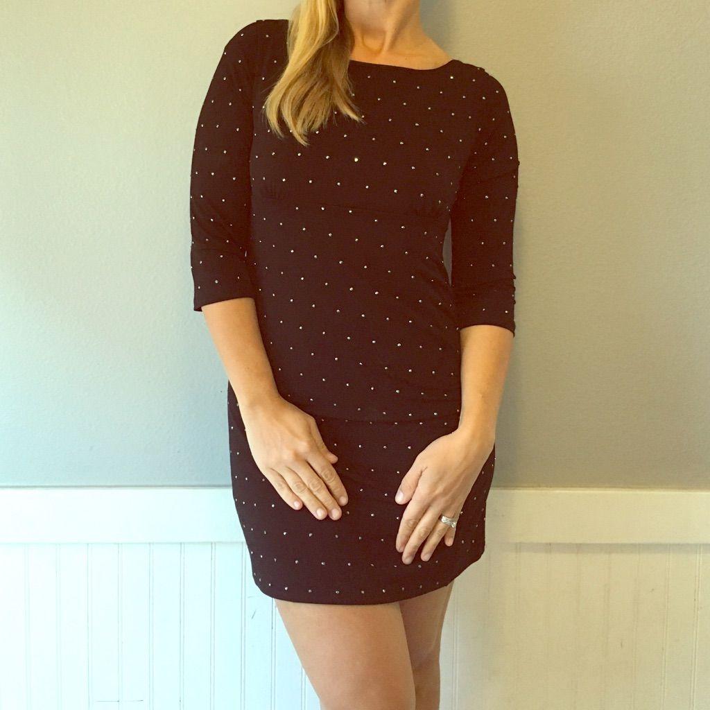 Little black dress long sleeve with rhinestones black dress long