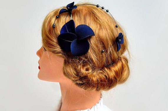 Navy blue fascinator Classy headband Halloween headband Elegant hair piece Bridesmaid hair Wedding hair accessories Fascinator headband