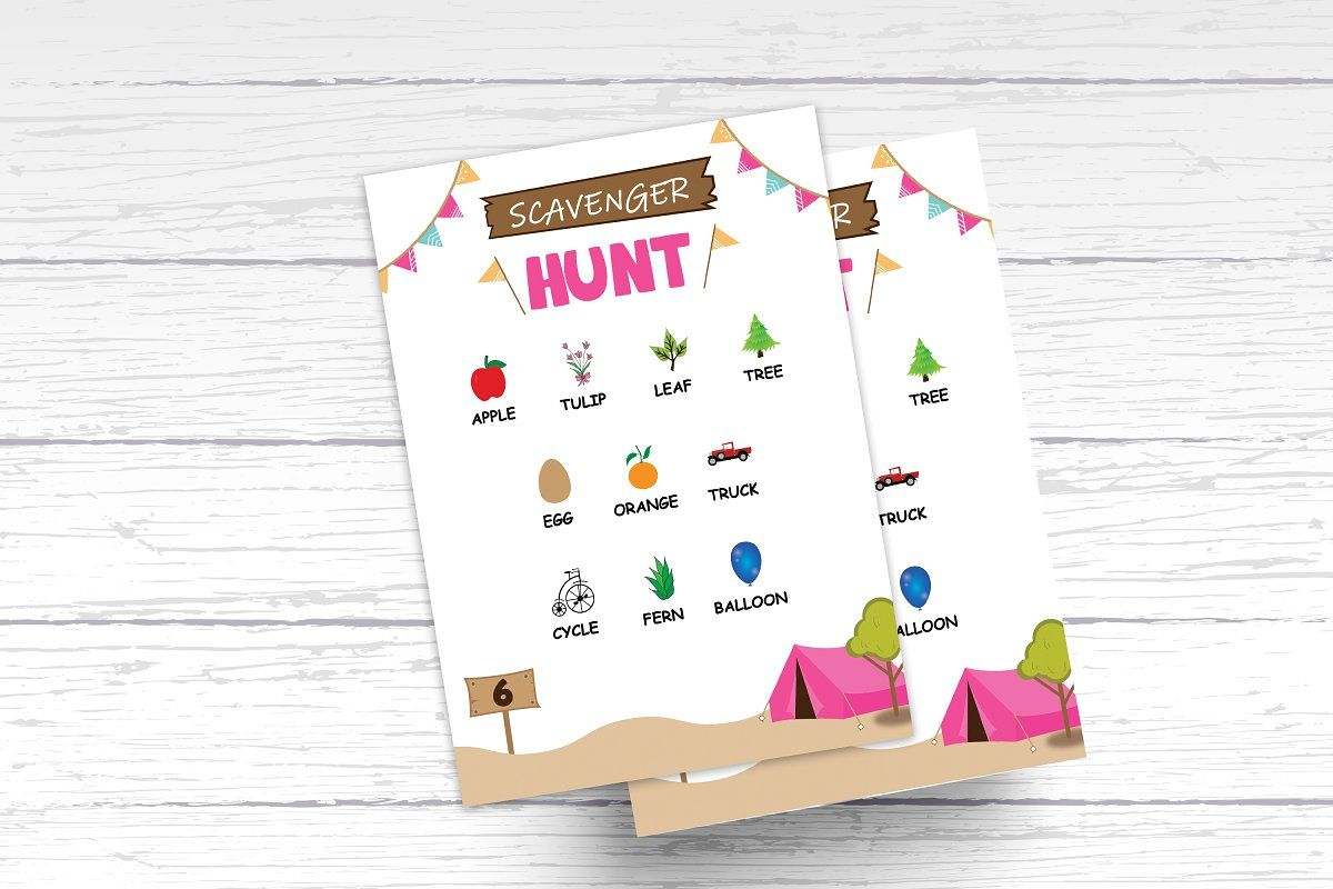 Camping Tent Scavenger Hunt Template Scavenger Hunt Template Invitation Sizes Baby Shower Invitation Templates