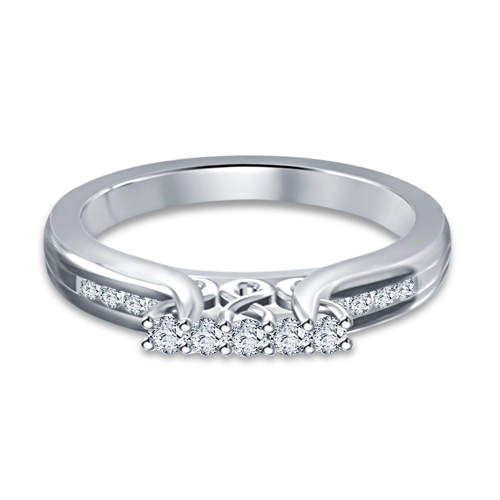 New Design Round Simulated Diamond 925 Silver Wedding & Anniversary Band Ring #2stylenfashion #FivestoneRing