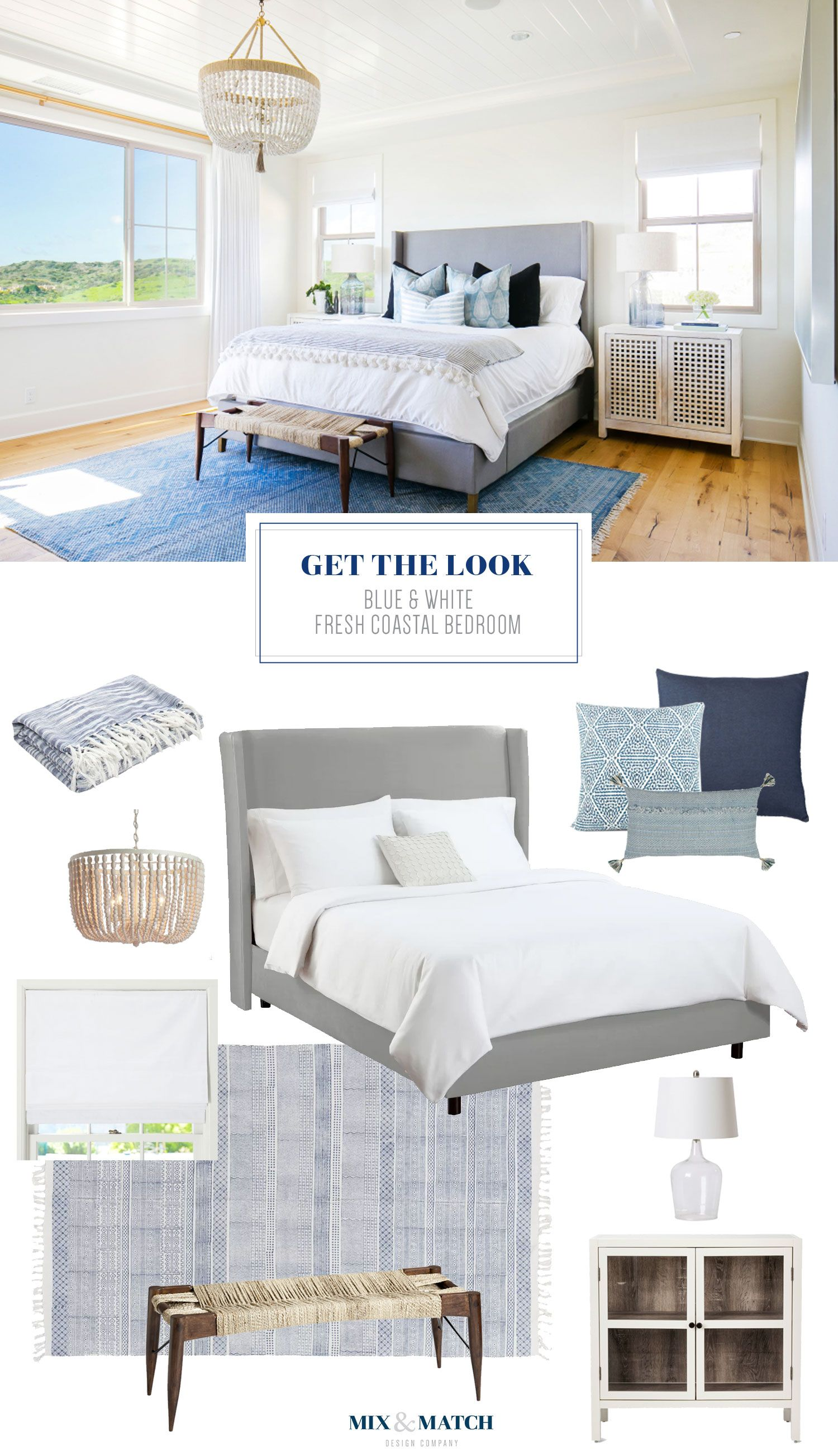Get the Look: Blue & White Fresh Coastal Bedroom | Mix ...