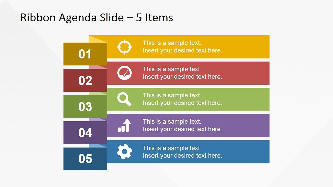 5 Items Ribbon Agenda Slide Template For PowerPoint