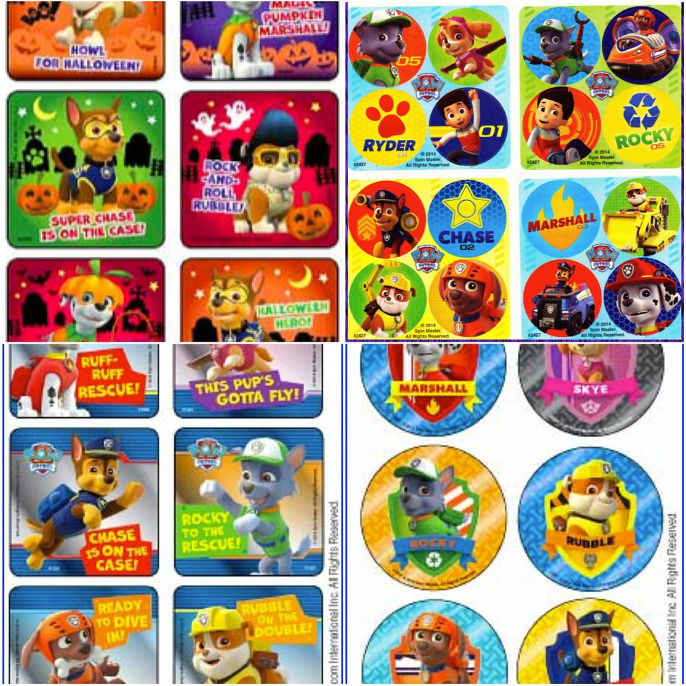 Paw Patrol Party Stickers, Halloween Stickers, Christmas Stickers... bulk  options too