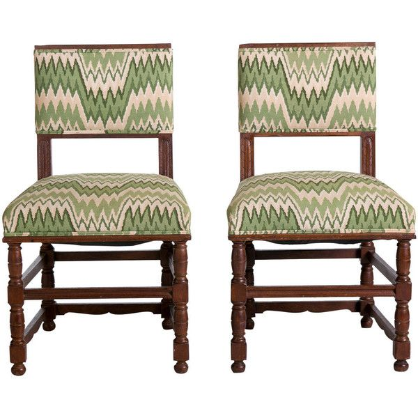 English Tudor Style Side Chairs With Flame Stitch Fabric, Pair ❤ Liked On  Polyvore Featuring