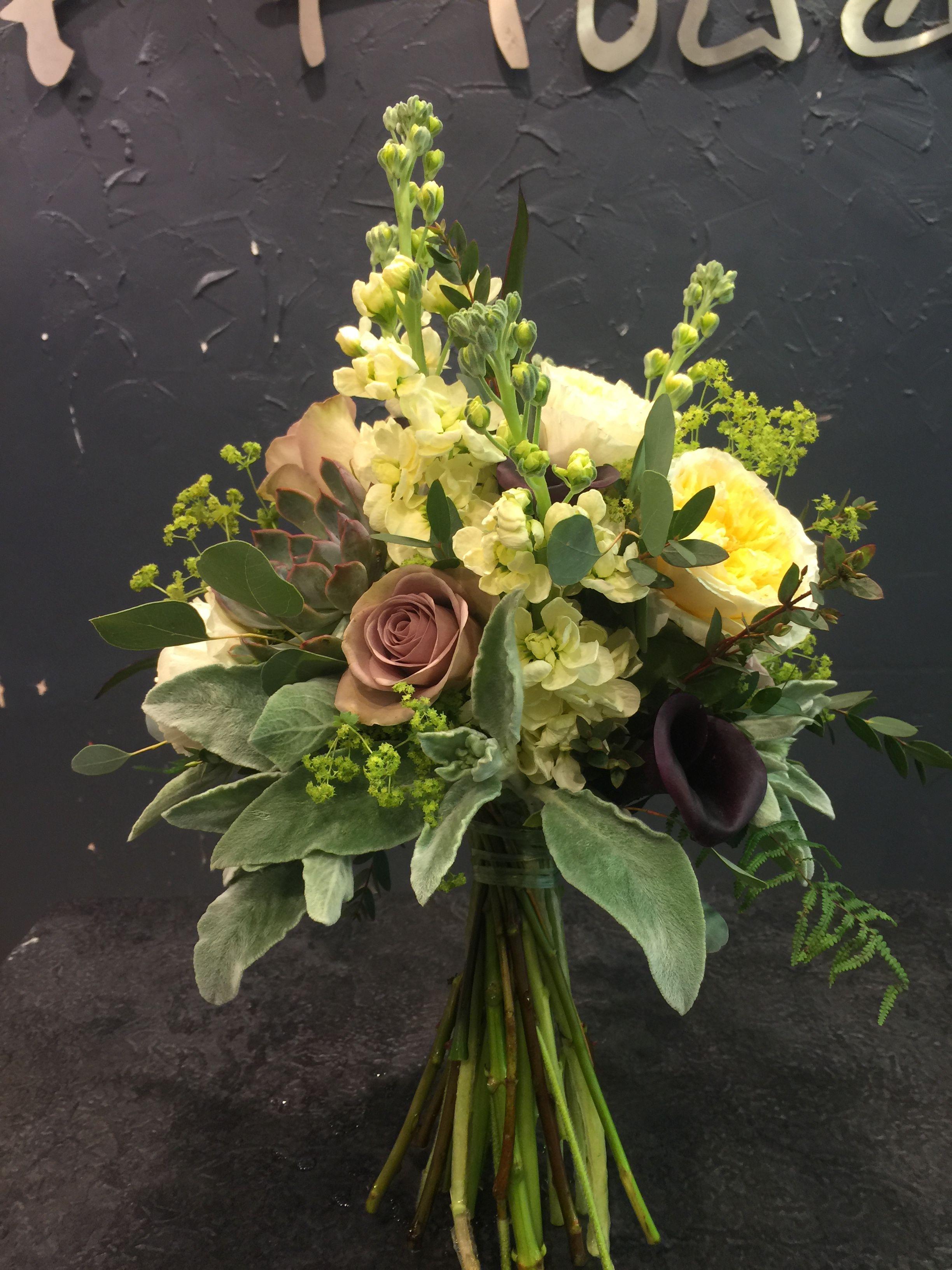 Fabulous Bridal bouquet with Amnesia&Peach Juliet roses, hydrangea, burgundy calla lilies, matthiola, succulent, alchemilla mollis, eucalyptus, lams ear.
