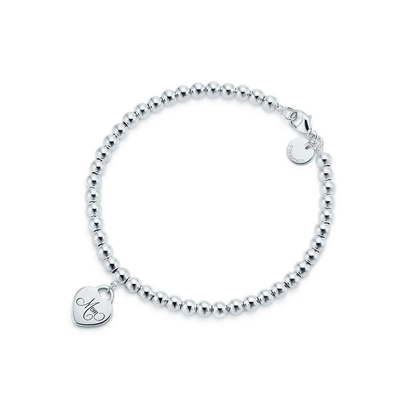 87933724f9ffb6 Tiffany Hearts® Mom mini heart tag bead bracelet in sterling silver, large.