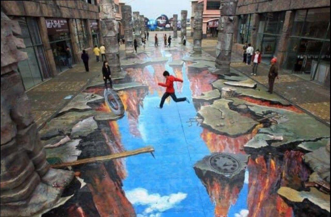 Pin By Pietra Bravo On Street Art In 2020 Sidewalk Art Scary Optical Illusions Art