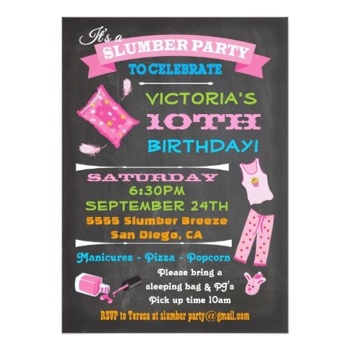 Spa Birthday Party Invitations Chalkboard Sleepover Slumber Party - best of birthday invitation card write up