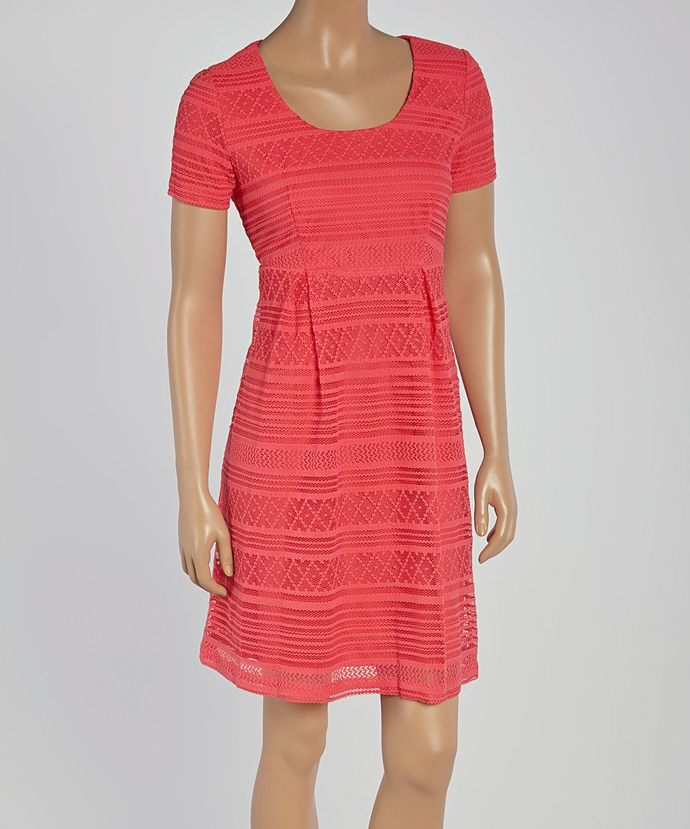 Look at this Rabbit Rabbit Rabbit Designs Coral Geo-Lace Skater Dress on #zulily today!