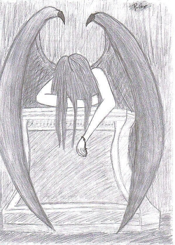 simple pencil drawings of angels