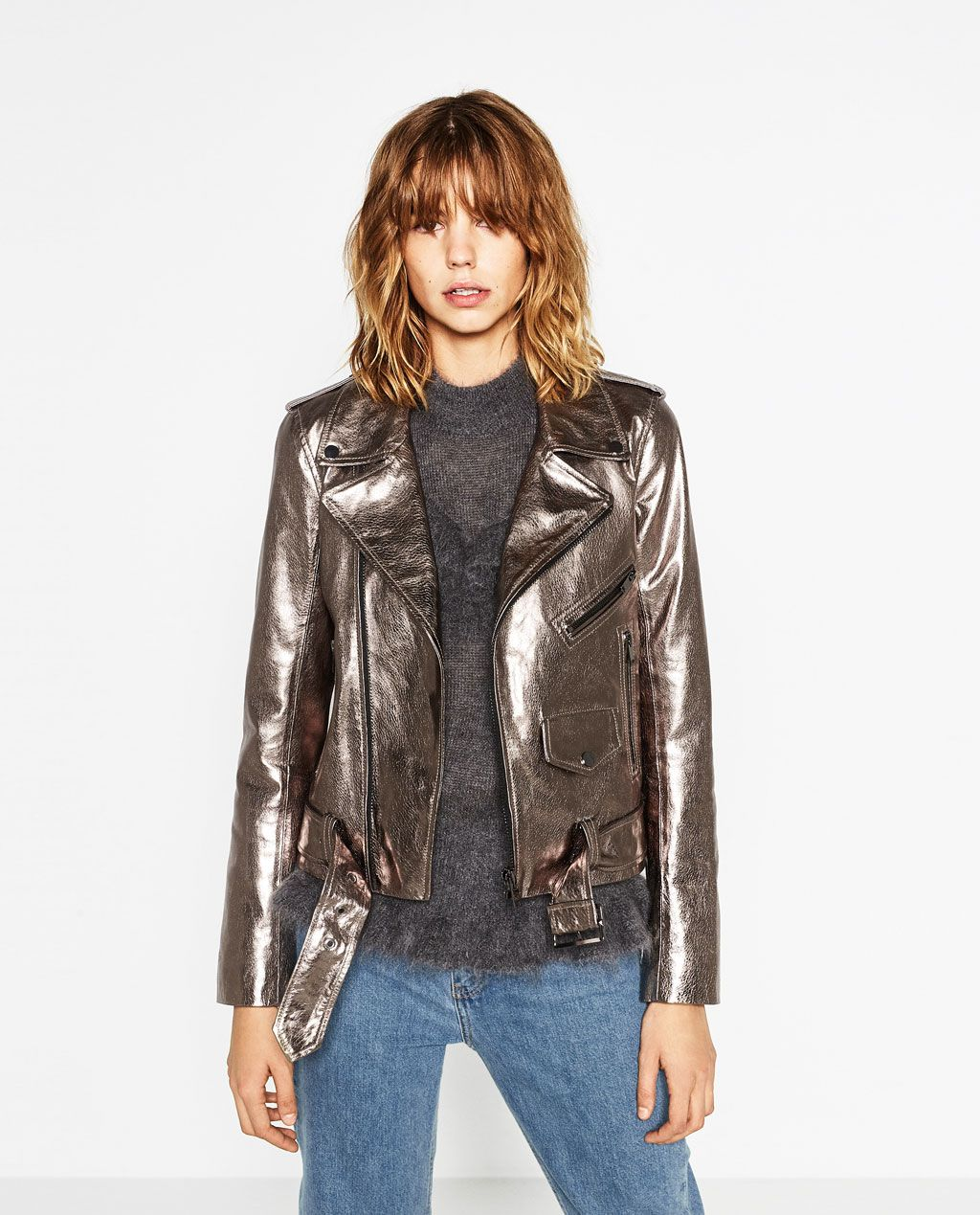 Metallic Leather Jacket New In Woman Zara United States Style