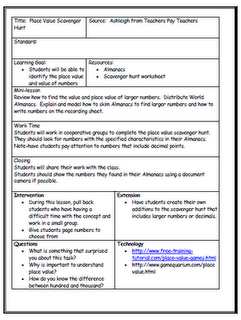 Short Lesson Plan Template  Grade One    Lesson Plan