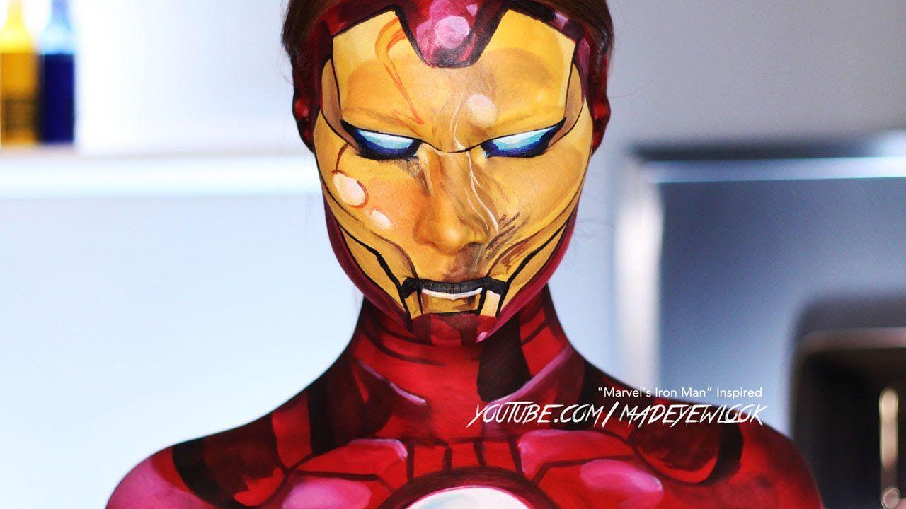 Comic Iron Man Makeup Tutorial Marvel Maquillaje De Fantasia Maquillaje Halloween Maquillaje
