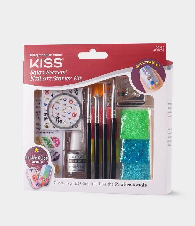 Nail Art Kit Starter Secrets Set Kiss Salon Manicure Brush Polish