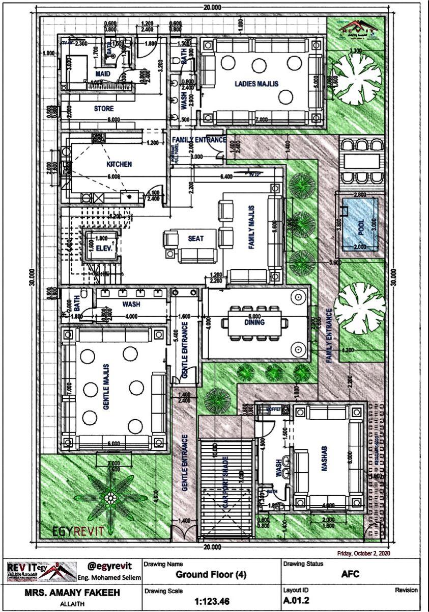 تصميم دور ارضي لفيلا سعودية Building Plans House Family House Plans Villa Plan