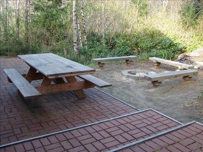 Brick patio, picnic table and fire pit w/built-in benches
