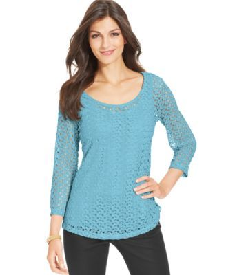 Jm Collection Petite Crocheted Layered Top