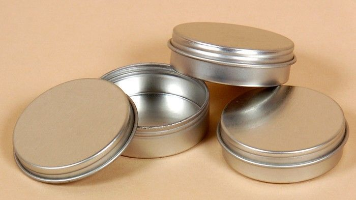 Beads 2.5oz Round FLAT Tin Containers Clear Top Lids  12  NEW  Candles Spices