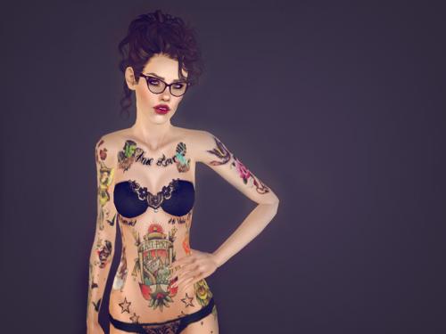 Spring4Sims » Female Full Body Tattoo by La Vie En Sims