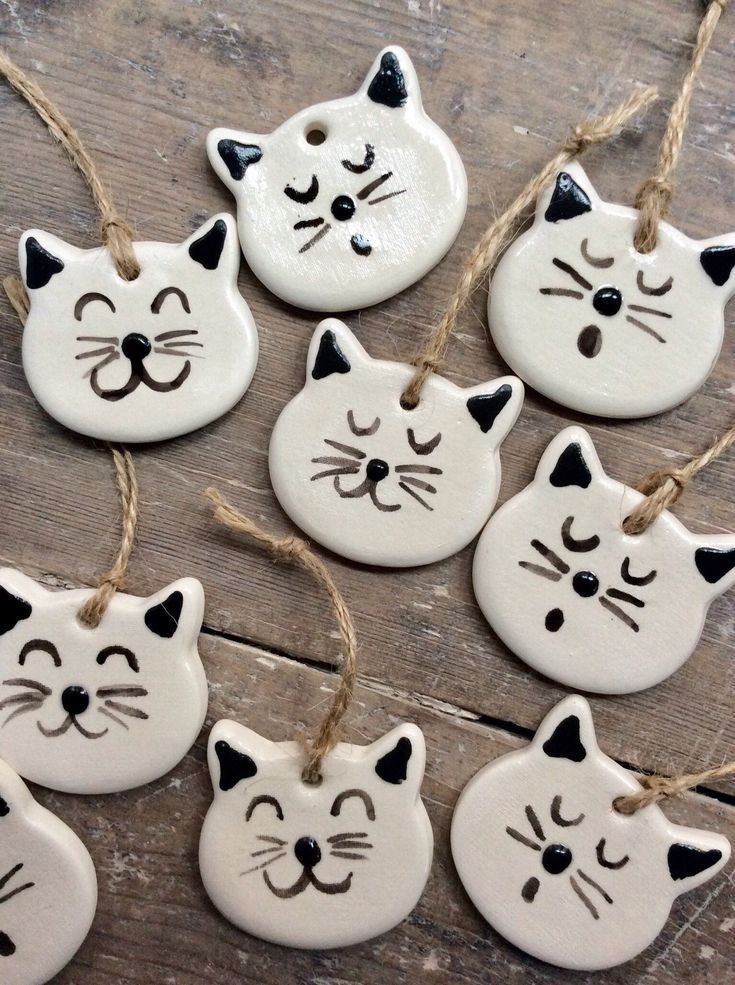 Handmade, hand painted hanging rustic white ceramic cat decoration, perfect Christmas, Valentine's D