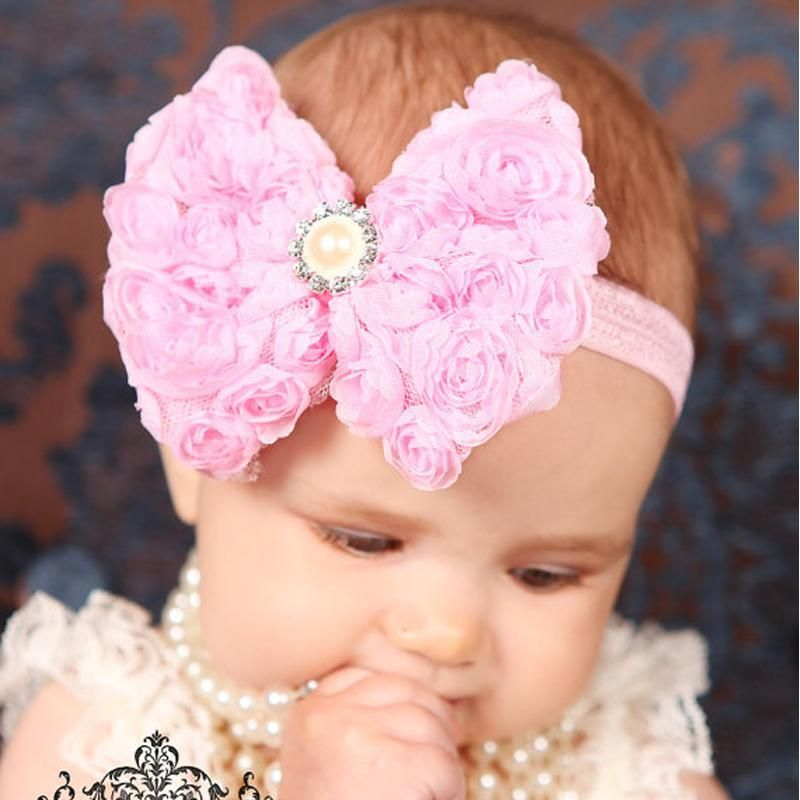 Lot Floral Roses Diamante Bow Headband Baby Girl Headbands Newborn Toddler