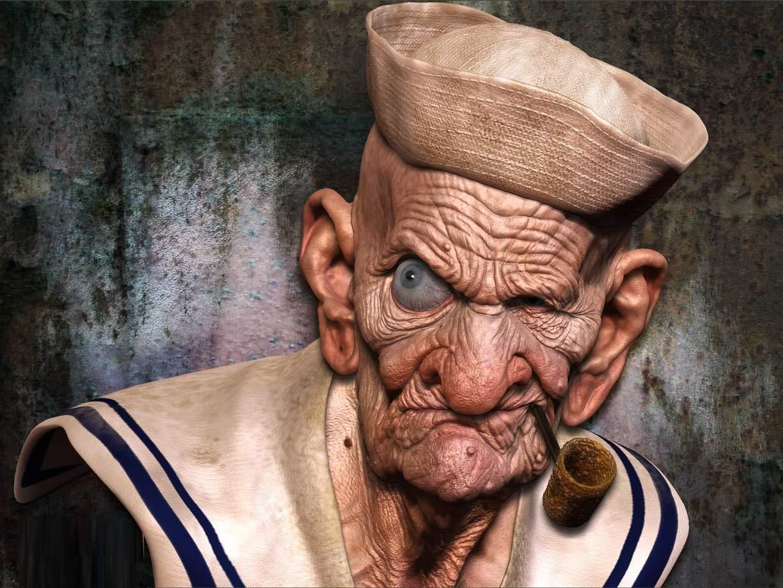 Hyper Realistic Popeye Realistic Cartoons Drawing Cartoon Characters Realistic Drawings