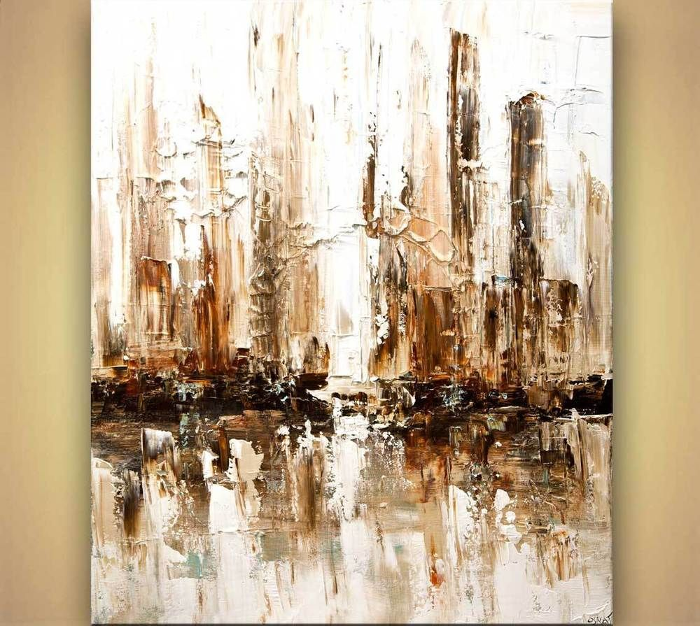 Modern Wall Art By Osnat Fine Art: Contemporary Abstract City White Painting Modern Palette